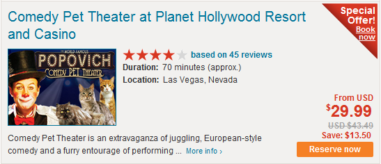Comedy Pet Theater at Planet Hollywood Resort