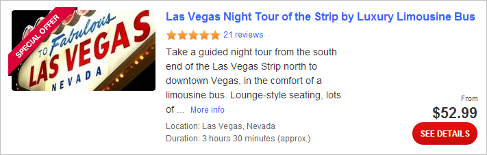 Las Vegas Night Tour of the Strip by Luxury Limousine Bus